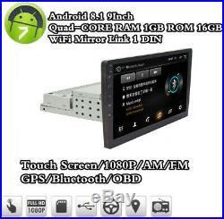 1 Din 9 Car Radio Stereo Sat Nav GPS MP5 Player Android 8.1 Quad-core Head Unit
