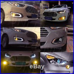 2 Amber LED Front Fog Light Bumper DRL Lamp For Vauxhall Astra Ford Focus ST 06+