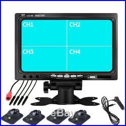 7Car 4CH Quad Split HD Reverse Monitor 4AV Input+170°Night Vision Camera+Remote