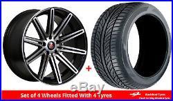 Alloy Wheels & Tyres 8.0x18 Axe EX15 Black Polished Face + 2254518 Economy Tyres