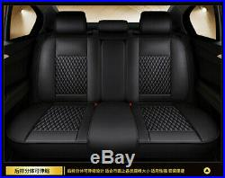 Car Seat Covers For Auto SUV Truck Front & Rear Black White PU Leather Universal