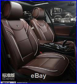 Car Seat Covers Protect Cushion 6D Full Surrounded Mat Full Set Front Rear Brown