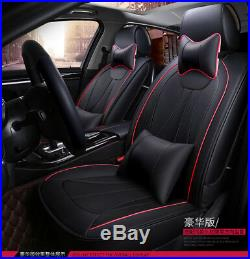 Durable Soft 5-Seats Car Front Rear Row Seat Cover PU Leather Cushion+Pillows