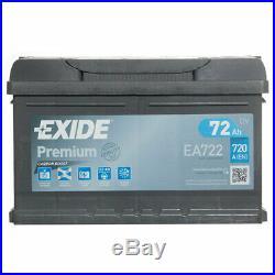 Exide Premium EA722 100 Car Battery 5 Year Warranty 72Ah 720cca Replacement