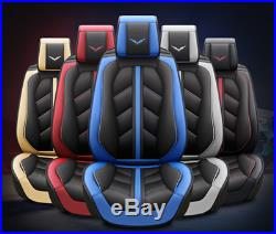 For 5-Seats Car Seat Cushion Cover 5D Surround Luxury Leather With Waist Pillows